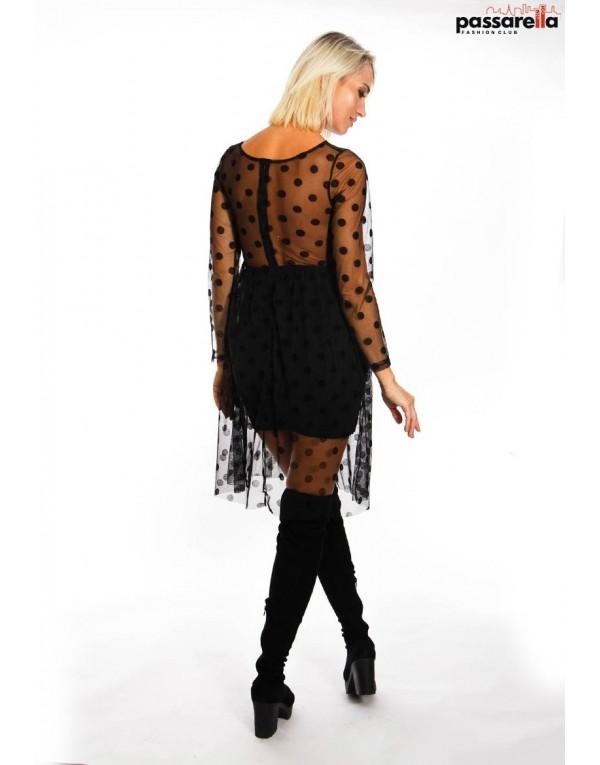 Φόρεμα μίντι δαντέλα πουά