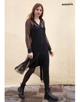Φόρεμα διπλό με maxi διαφάνεια