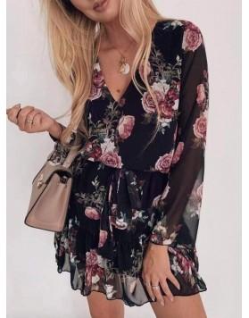 Φόρεμα floral με V