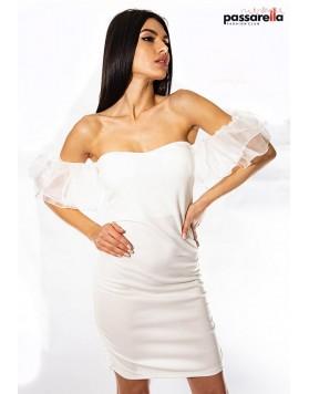 Φόρεμα δαντέλα όμους ΛΕΥΚΟ