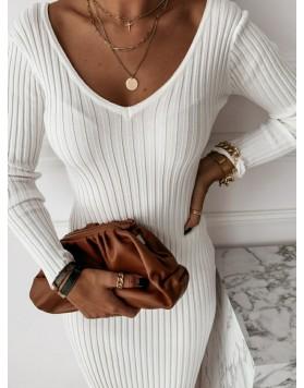 Φόρεμα ριπ μάξι ΛΕΥΚΟ