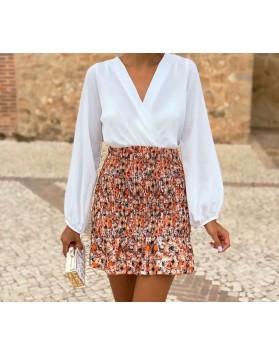 Φόρεμα λευκό με φλοράλ