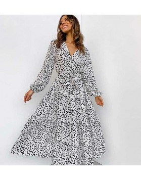 Φόρεμα μαξι animal print ΜΑΥΡΟ