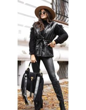 Γιλέκο fake leather κουκούλα