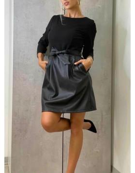 Φόρεμα midi fake leather