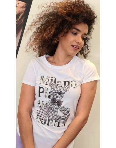 Μπλούζα T-shirt ΛΕΥΚΟ teddy