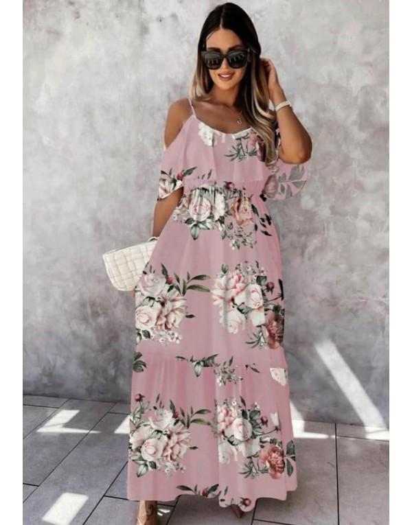 Φόρεμα Μάξι Floral ΡΟΖ